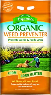 Espoma Weed Preventer Plus Lawn Food, Natural Lawn Food, Prevents Dandelions, Crabgrass, & Other Weeds, 25 lb