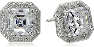 Platinum or Gold-Plated Sterling Silver Swarovski Zirconia Asscher-Cut Halo Earrings (1 cttw)