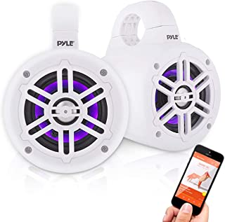 Waterproof Marine Wakeboard Tower Speakers - 4in Dual Subwoofer Speaker Set w/LED Lights & Bluetooth for Wireless Music St...