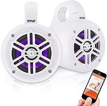 Waterproof Marine Wakeboard Tower Speakers – 4in Dual Subwoofer Speaker Set w/LED..