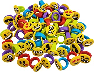 Funeez Silicone Toy Rings for Boys and Girls - Party Favor Emoji Rings for Kids - Bulk Pack of Emoji Party Supplies - 60 Pc Emoji Party Favors