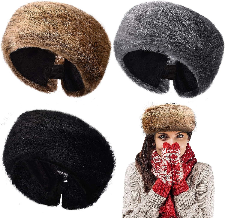 3 Pieces Faux Fur Headband Elastic Fluffy Winter Headband Ear Warmer Stretchy Cold Weather Ear Muff Headwrap for Women Girls