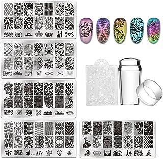 Biutee 5pcs Nail Stamping Plates + 1 Stamper + 1 Scraper Lace Flower Animal Pattern Nail..