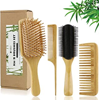 4 Pcs Bamboo Hair Brushes With Paddle Brush, 9-Row Brush and Comb Set Massage Scalp Drying & Styling Detangling, Defining ...