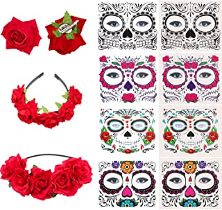 Day of the Dead, 8 Pieces Halloween Face Tattoos, Rose Flower Crown Headbands Mexican Headpiece & Rose Flower Hair Clip for Women Girl Halloween Party Favor Supplies