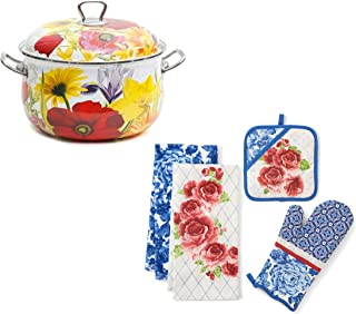 The Pioneer Woman 1-Piece Floral Garden Dutch Oven, 4qt bundle with The Pioneer Woman 4-Piece Heritage Floral Kitchen Towel, Oven Mitt, and Pot Holder