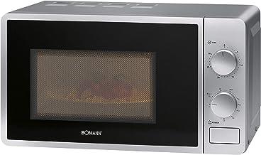 Bomann MWG 6015 CB - Microondas con grill (700 W, 800 W de potencia, temporizador de 30 minutos con señal de finalización, iluminación para el hogar), color plateado