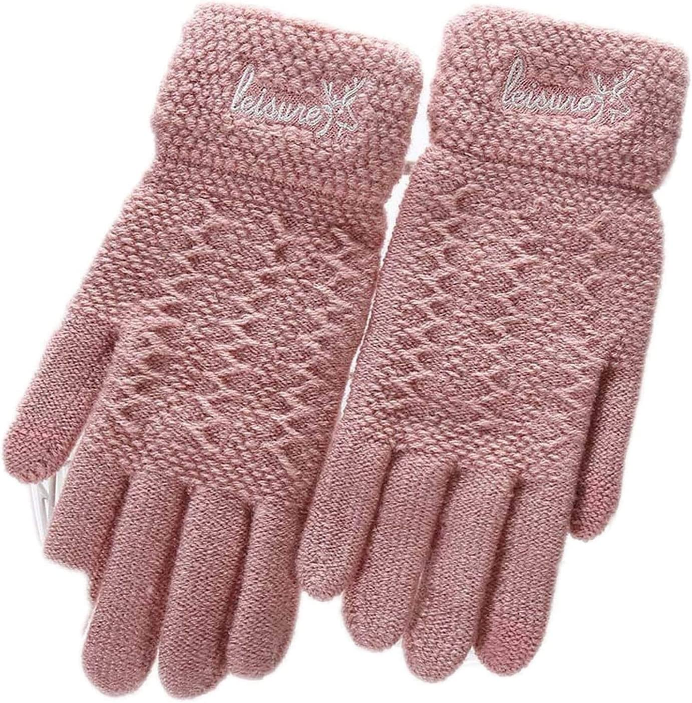 Samantha Warm Gloves Ladies Winter Warm Cute Cartoon Finger Knit Touch Screen Gloves Women Full Finger Soft Mittens Black Gloves (Color : E Pink, Size : Oneszie)