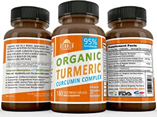 ORGANIC TUMERIC CURCUMIN 180ct: 95% Curcuminoids Best with BioPerine Black Pepper Extract TURMERIC Anti Inflammatory Joint Pain Relief, Max Immune System Booster Liver Detox Capsule Organic Supplement