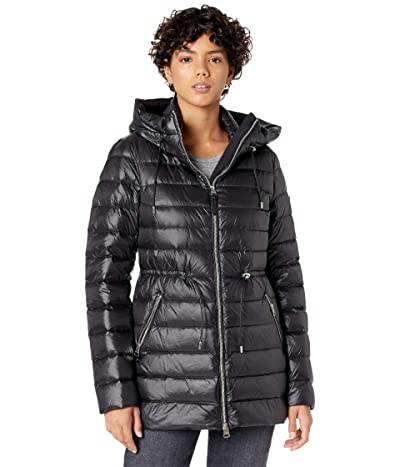 MACKAGE Ivy Sateen Lightweight Down Puffer Coat (Black) Women