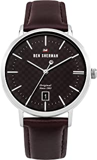 Ben Sherman Men's 'The Dylan Heritage' Quartz Stainless Steel and Leather Casual Watch, Color:Brown (Model: WBS103BT)