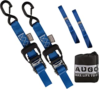 """AUGO Heavy Duty Ratchet Straps & Soft Loops – Pack of 2 Extra Strong 1.5"""" by 10' Ratchet Straps w/S-Hook Safety Latches & 2 Soft Loop Tie Downs – 4400Lb Break Strength for Motorcycles, ATVs, Etc."""
