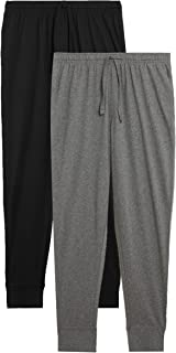Marks & Spencer Men's 2 Pack Pure Cotton Cuffed Pyjama Bottoms, GREY MIX