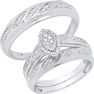 Dazzlingrock Collection 0.12 Carat (ctw) His Her Round White Diamond Marquise Shape Men & Women Engagement Rings Trio Brid...