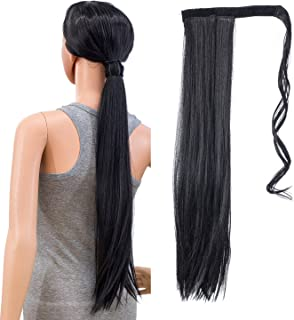 SWACC Women Long Straight/Curly Wavy Wrap Around Ponytail Extension Synthetic Hair Piece Clip in Hair extensions (Straight, 1B#-Off Black)