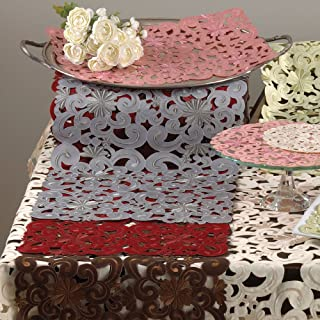 TCC Embroidered and Cutwork Floral Design Traycloths. 100% Polyester Woven. Brown, 12 Inch X18 Inch Oblong. Four Pieces
