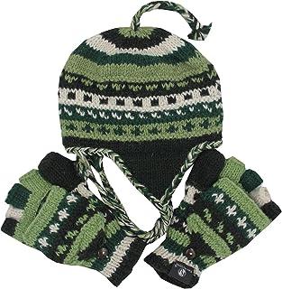KayJayStyles Nepal Hand Knit Ear Flaps Beanie Ski Wool Hat & Glove Mitten Set