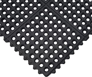 Durable Anti-Fatigue Rubber Floor Mat, Interlocking Commercial Floor Mat 3` x 3` Feet Entrance Mat