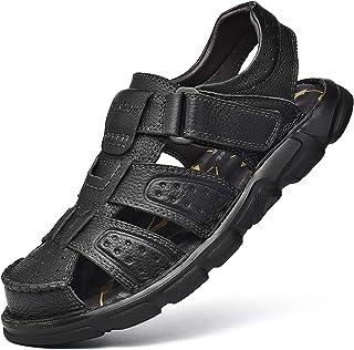 Sandales de Sport Homme Extérieures pour Grande Taille Sandales de Randonnée Hommecuir extérieur à Orteils fermés Sandales...