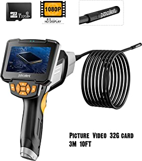 Endoscopio Industrial Digital 1920X1080P videoscopio de boroscopio pancelente con cámara de inspección Impermeable IP67 Pantalla LCD a Color de 4.3 Pulgadas Tarjeta de Memoria 32G 10FT (3 Metros)