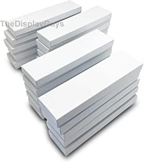 The Display Guys Pack of 25 Cotton Filled Cardboard Paper White Jewelry Box Gift Case (8x2x1 inches #82)