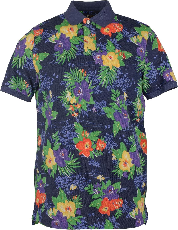 Amazon.com: Men's Big and Tall Floral Mesh Polo Shirt-NM-LT: Polo ...