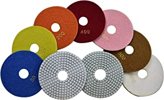 Konfor 5 Inch Wet Diamond Polishing Pads - 7 Piece Set for Marble Granite Concrete Countertop Glass Engineered Stone