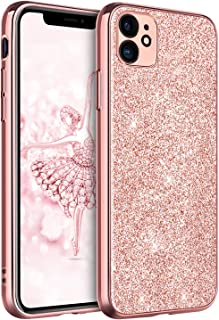 iPhone 11 Case Bling, DUEDUE Sparkly Glitter Slim Hybrid Hard PC Cover Shockproof Non-Slip,Glitter Full Body Protective Phone Cover Case for iPhone 11 6.1