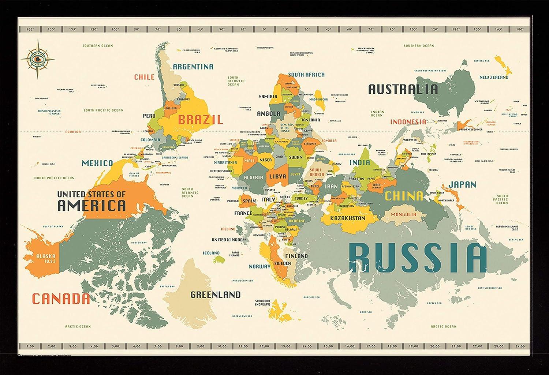 Frame USA World Map OFFicial shop Upside Poster Medium Down OFFicial mail order Black Affordable