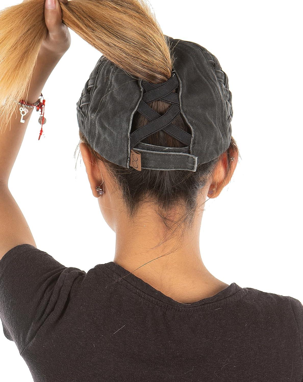 Funky Junque Criss Cross Hat Womens Baseball Cap Distressed Ponytail Messy Bun Trucker Ponycap