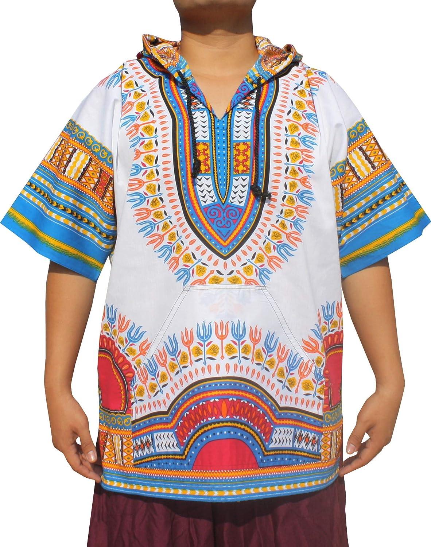 RaanPahMuang Dashiki お得 Hoody Shirt Short 売り込み with Sleeve Pocket Large