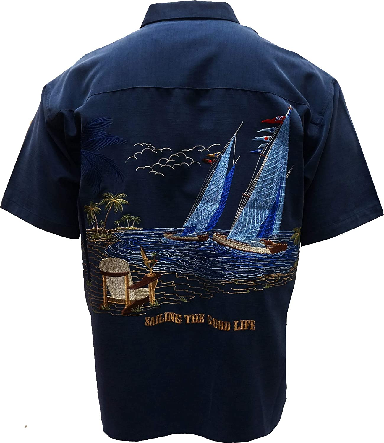 Bamboo Cay Men's Sailing The Good Life, Button Front Embroidered Camp Shirt
