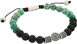 Textured Ball and Chrysocolla Bead Bracelet