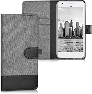 Wallet Case Compatible with Google Pixel - Fabric Faux Leather Cover with Card Slots, Stand -
