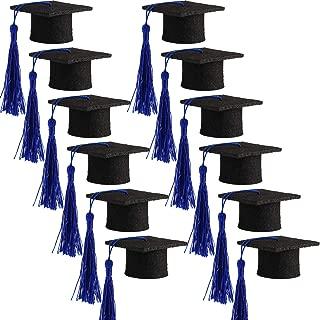 Hicarer 12 Pack Mini Graduation Caps Graduation Cap Bottle Toppers Bachelor Graduation Hat-Shaped Party Decorations Black (Dark Blue)