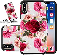 Red Floral Phone Case Compatible for [ iPhone Xs Max ] Storm Buy [Shock Absorption] Dual Layer Heavy Duty Pink Rose Protective Girl Women Cover (Red- IPXsMax)