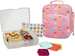 Bentology Lunch Bag and Box Set- Durable Insulated Tote w Bottle Holder- Girls School Lunchbox Includes Bento Box, 5 Containers & Ice Pack - BPA & PVC Free - Owl