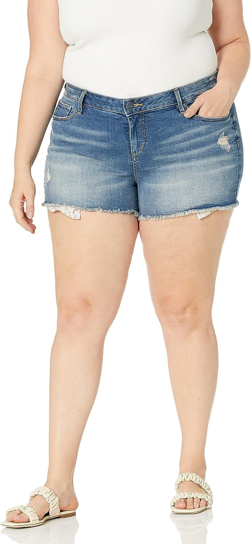 SLINK Jeans Women's Exposed Pocket Short Roses Plus Size