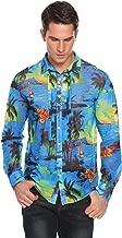 COOFANDY Men's Coconut Tree Print Quick Dry Long Sleeve Hawaiian Shirt