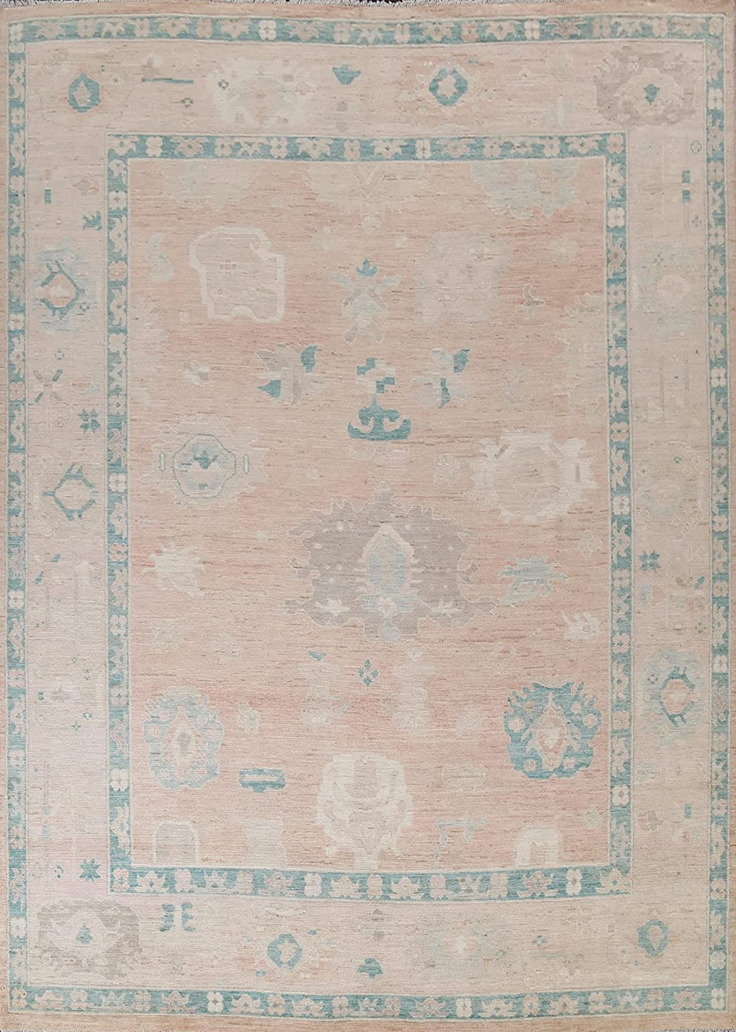 Peach Abstract Geometric Vegetable Dye Oushak Rug Turkish Area Max 71% Ranking TOP9 OFF W