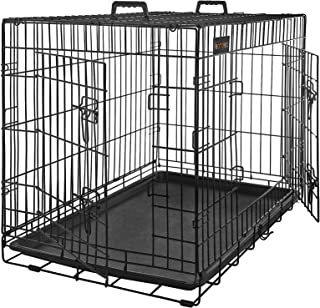 FEANDREA Jaula Metálica para Perros, Transportín Plegable para Mascotas, XL 91 x 58 x 64 cm, Negro PPD36H