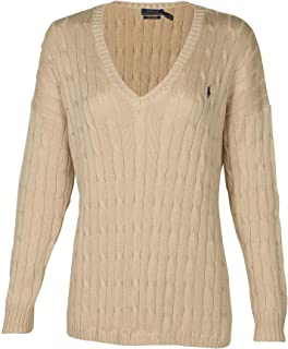 POLO RALPH LAUREN Womens Pima Cotton Cable Knit V-Neck Sweater (M, Natural)