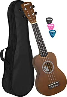 CASCHA Sopran Ukulele Set für Kinder und Erwachsene I Ukulele Starter Kit mit 3 Plektren Tasche I Ukulele Set Aquila Saiten Nylon I Kleine Hawaii Gitarre für Anfänger Fortgeschrittene I Braun