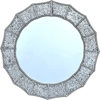35x32 Silver Crackle Glass Mosaic Decorative Accent Wall Mounted Mirror in Quatrefoil//Four/Leaf/Clover Shapes Wood Backing Living Room Bedroom Vanity Bathroom Hangs Horizontal /& Vertical