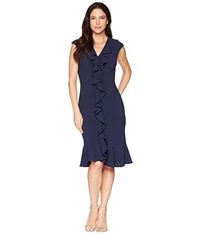 Maggy London 30s Crepe Cascade Ruffle Front Dress (Navy) Women