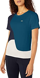 Lacoste Womens Short Sleeve Loose Fit Technical Pique Color Block T-Shirt