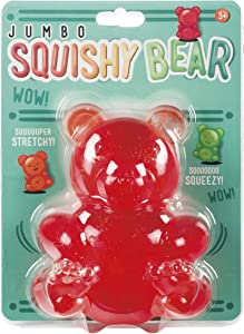 Toysmith Jumbo 5-1/2 inch Squishy Stretchy Bear, Assorted Colors, Multi (7139)
