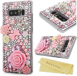 Mavis's Diary Note 8 Case, Clear Hard PC Plastic Case 3D Handmade Full Edge Protective Luxury Shiny Bling Glitter Diamonds Soft Pearl Peach Blossom Skin Cover for Samsung Galaxy Note 8