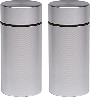2x Stash Jar - Airtight Smell Proof Durable Multi-Use Portable Metal Herb Container. Waterproof Aluminum Screw-top Lid Lock Odor. Beautiful Discreet Design Store Herbs Tobacco Spices Securely Silver