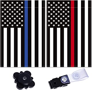 Double Sided Garden Flag – USA Flag for Outdoors – Thin Blue and Red Line Decorative Yard Flag with Clip and Stopper Included – Pack of 2 Weather Resistant Double Garden Flags – 18 x 12.5-inch Flag